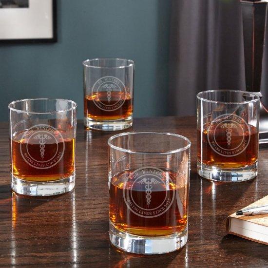 Set of 4 Elegant Medical Arts Whiskey Glasses