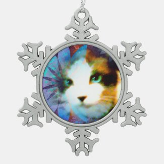 snowshoe field of flowers kitty snowflake pewter christmas ornament
