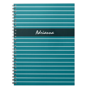 Modern Chic Thin Teal Stripes With Name Notebook