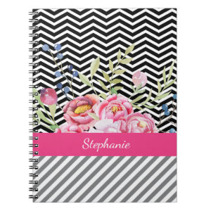 Chic Pink Floral Black and White Chevrons and Name Spiral Notebook