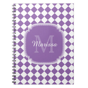 Trendy Light Purple Checked Monogrammed Name Notebook