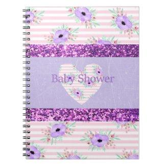 Baby Shower Planner Notebook Purple & Pink Floral