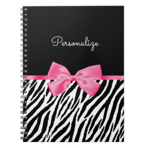 Trendy Zebra Print Chic Hot Pink Bow and Name Spiral Notebook