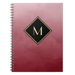 Elegant Brushed Red With Simple Gold Monogram Notebook