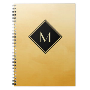 Elegant Brushed Yellow With Simple Gold Monogram Spiral Notebook