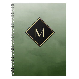 Elegant Brushed Green With Simple Gold Monogram Spiral Notebook