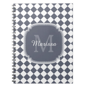Trendy Gray and White Checked Monogrammed Name Notebook