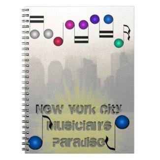 New York City Skyline NYC Music Musicians Books Spiral Notebook