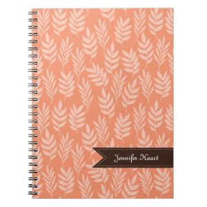 Chic Cadmium Orange Elegant Leaf Pattern and Name Notebook