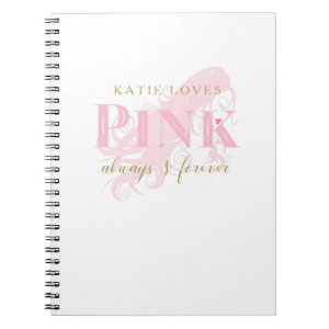 Girly Love Pink Forever Woman Silhouette and Name Spiral Notebook