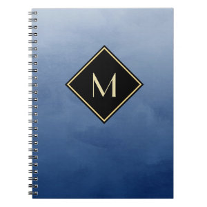 Elegant Brushed Blue With Simple Gold Monogram Spiral Notebook