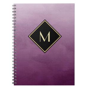 Elegant Brushed Purple With Simple Gold Monogram Notebook