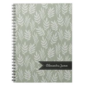 Sage Green Elegant Leaves Pattern With Name Spiral Notebook