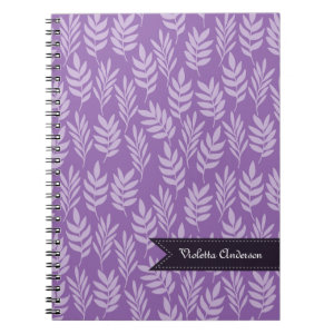 Lavender Leaves Elegant Purple Pattern With Name Spiral Notebook