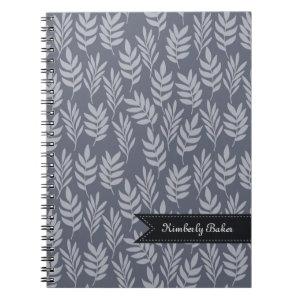 Elegant Name Modern Slate Gray Leaves Pattern Spiral Notebook