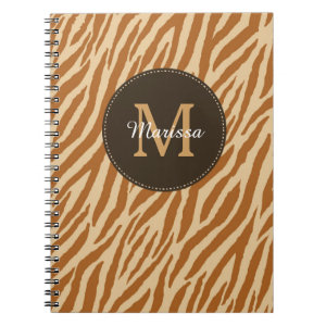 Stylish Tawny Brown Zebra Print Monogram and Name Spiral Notebook