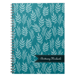 Elegant Aqua Leaves on Teal Pattern With Name Spiral Notebook