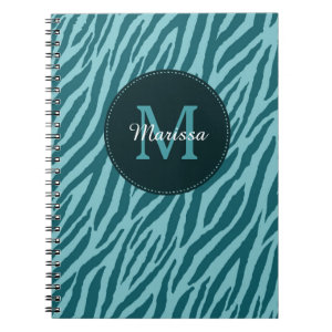 Stylish Teal Zebra Print With Monogram and Name Spiral Notebook