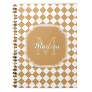 Trendy Golden Yellow Checked Monogrammed Name Spiral Notebook