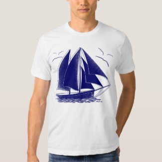 Blue sailboat nautical sailing captain shirt