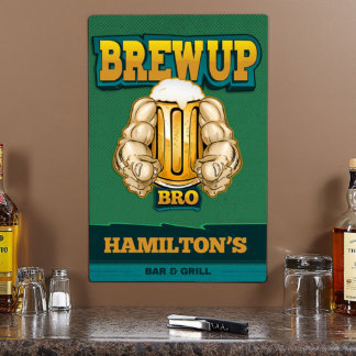 Brew Up Bro Personalized Metal Sign