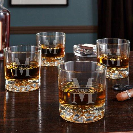 Oakmont Custom Fairbanks Whiskey Glasses, Set of 4