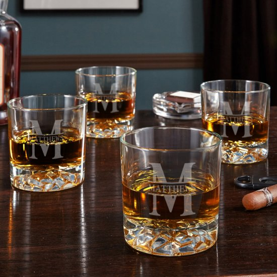 Set of 4 Oakmont Design Fairbanks Whiskey Glasses
