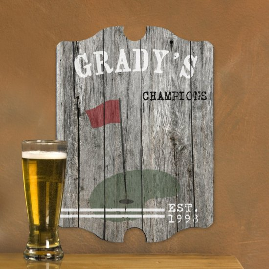 Personalized Man Cave Bar Signs - Golf Plank