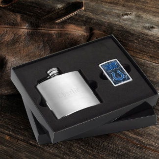 Brushed Flask & Indiana Colts NFL Zippo Lighter