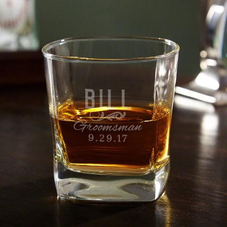 Engraved Sophisticated Square Whiskey Glass