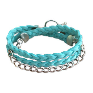 Turqouise Leather & Sterling Silver Bracelet