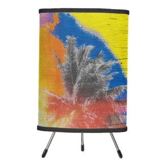 Coconut Tree Pop Art Retro Tropical Vintage Palm Tripod Lamp