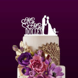 """Custom Wedding Couple Cake Topper<br><div class=""""desc"""">Each topper is laser cut from 1/8 inch thick acrylic,  Width: 5""""-6"""" Side to side (The exact height of this topper will depend on what width is chosen and what the last name is used.)Your cake topper will be ready in just one business day.</div>"""