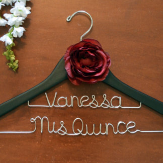 Two-Line Personalized Hanger with Flower Accent