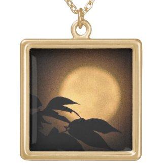 Autumn Moon Square Pendant Necklace