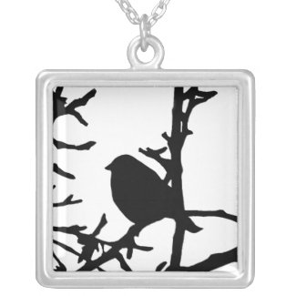 Bird on a Branch Square Pendant Necklace
