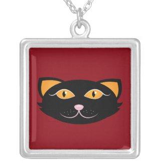 Black Cheshire Cat Round Pendant Necklace