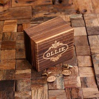 Men's Classic Gold Cufflinks w/Wood Inserts & Box