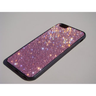 iPhone 6 Black Rubber Case Pink Crystals