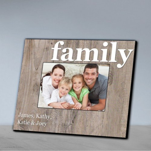 Family Vintage Gray Wood Effect Picture Frame
