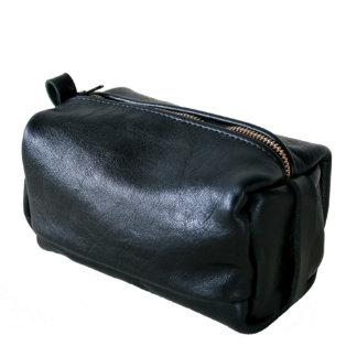 Black Full Grain Italian Leather Dopp Kit