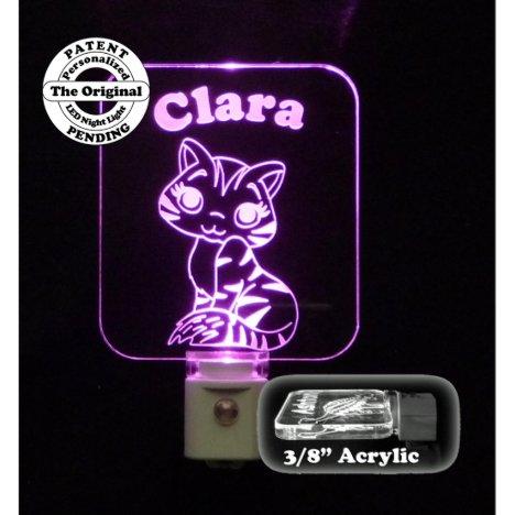 Personalized Pink LED Kitty Cat Night Light