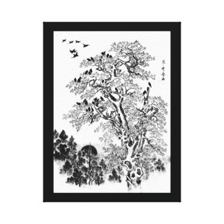 Flock of Crows at Dawn Canvas Print