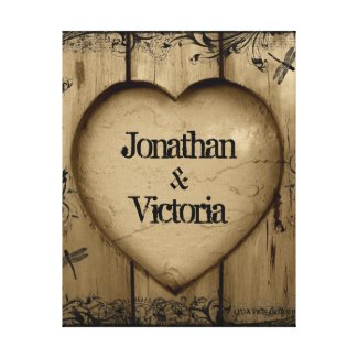 Rustic Wood with Heart and Couples Name Canvas Print