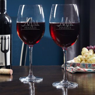 Wedded Bliss Personalized Wine Glasses for Couples