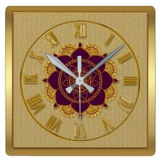 Golden Roman Numerals Ornamental Wall Clock