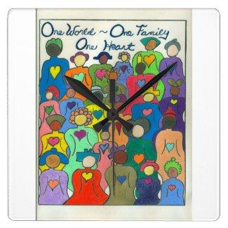 1 World, 1 Family, 1 Heart Clock