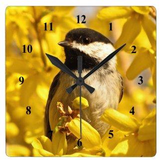 Chickadee Bird in Yellow Forsythia Flowers Clock