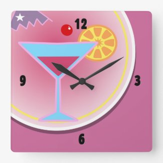 Cocktail Hour Night Time Wall Clock