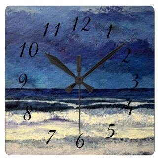 Calm Night Sea Ocean Waves Beach Surf Square Wall Clock